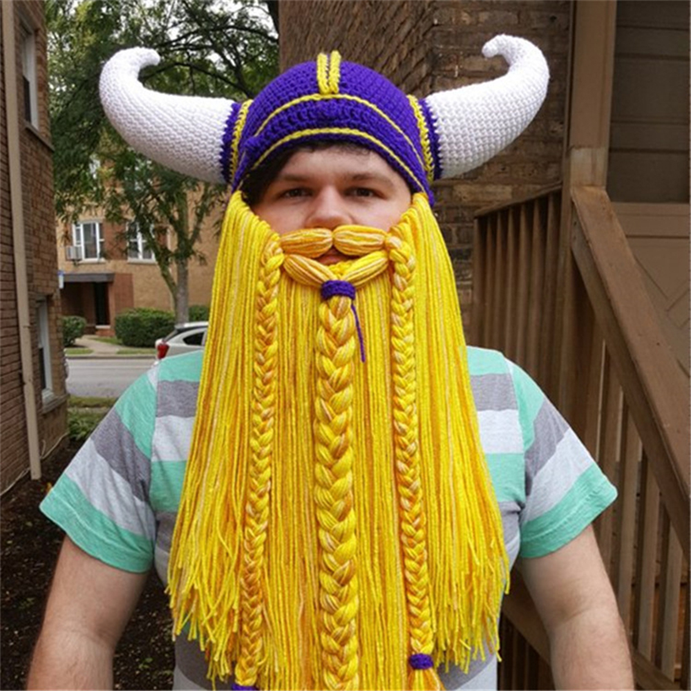 6f83d3c56dd Detail Feedback Questions about Men s Long Beard Viking Horn Hat ...