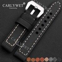 CARLYWET 20 22 24 26มิลลิเมตรร้อนจริงทำด้วยมือหนัง4มิลลิเมตรหนาวินเทจนาฬิกาข้อมือวงรัดสายคล้องแปรงโ...