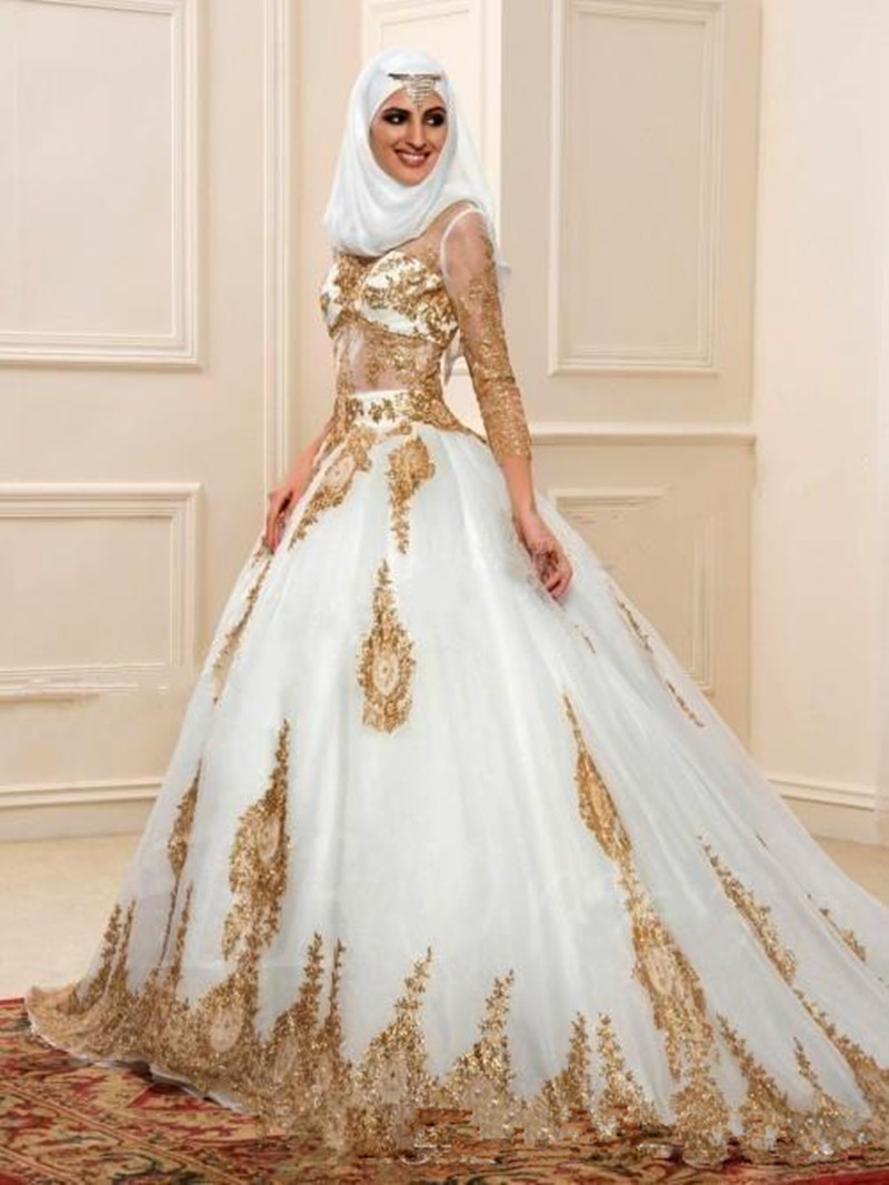 Buy high quality gold appliques lace for White and gold lace wedding dress