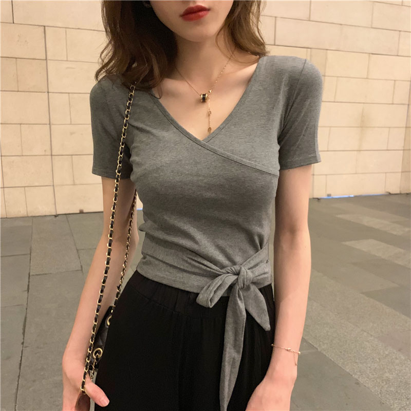 2019 Fashion   Blouse   Women Casual Sexy Short Sleeve V Neck Tops Bandage Tie Front   Shirts   Summer Female Tops Solid White