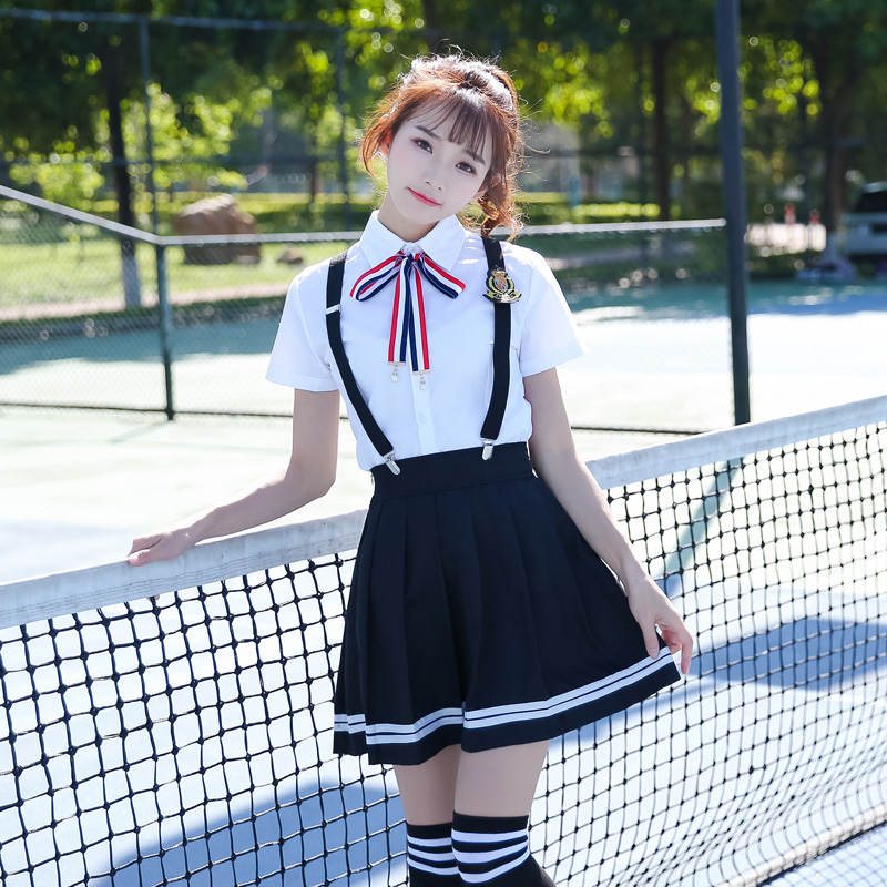 2019 summer japanese school uniforms anime cos sailor suit tops+tie+skirt jk navy style students clothes for girl cheerleader