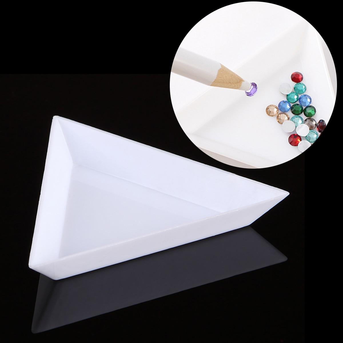 1 Pc Triangle Plastic Nail Art Gem Diamond Glitter Crystal Sorting Trays Rhinestones Beads Decor Picker Storage Accessory White