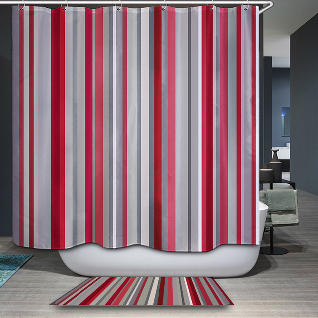 Striped Waterproof and Mildewproof Polyester Shower Curtain Nautical ...