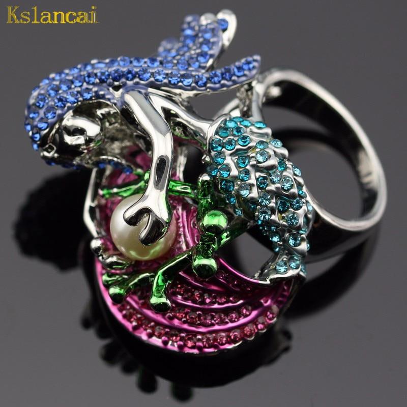 5e4cde92df03 LAN anillo multicolor piedra AAA joyería de cristal para la boda Partido  caja de joyas gratis para la señora
