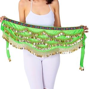 Image 3 - เซ็กซี่เทศกาลผ้าพันคอสะโพกทองเหรียญผู้หญิงBellyเต้นรำประสิทธิภาพกระโปรงสะโพกOriental/อินเดียBelly Danceเข็มขัดเหรียญ