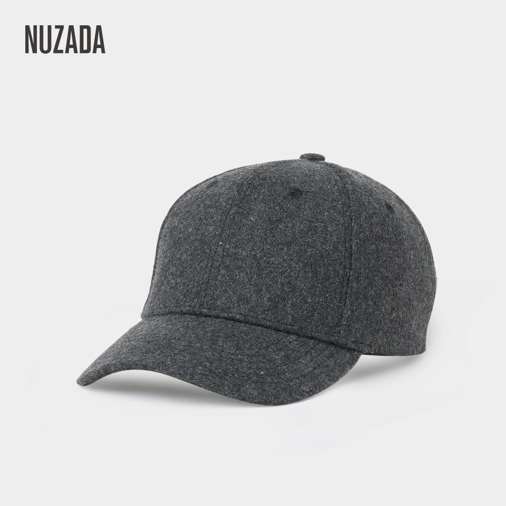 Brand NUZADA Autumn Winter Keep Warm Snapback Bone Men Women Baseball Caps Hats Cap Simpl Color Black Grey Woolen