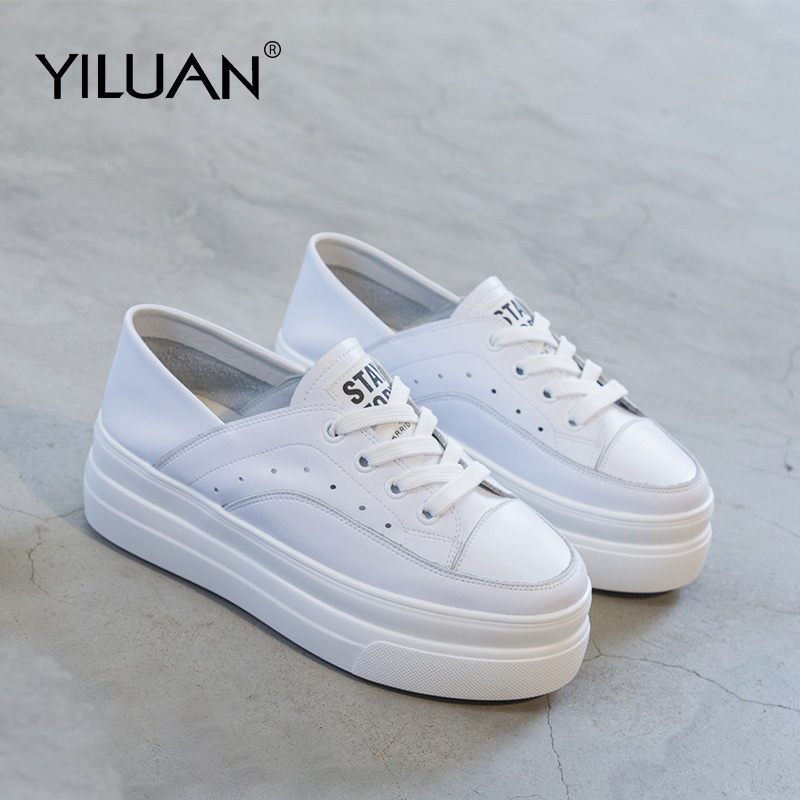 white shoes genuine leather increased women s shoes 2019 spring new sneakers women wild muffin bottom