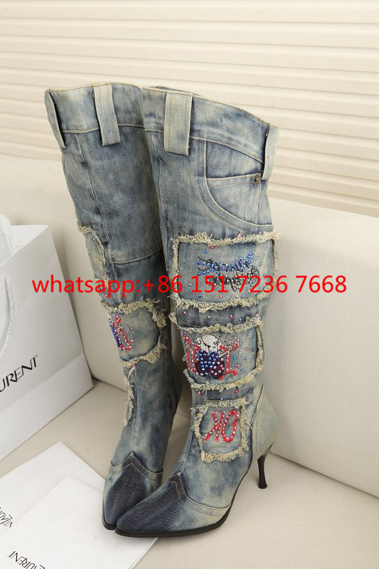Women Vintage Side Zipper Denim Boots Thin High Heel Pointed Toe Crystal Knee High Boots Winter Warm Jeans Long Botas Zapatos