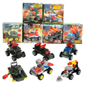 6pcs/lot Kids Mini Model Car Assemble Toy MinesWeeping Car Lunar Military Exploration Engineering Vehicles