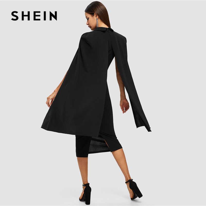 SHEIN czarny peleryna rękaw głębokie V Neck szal komża kołnierz z nieregularnym brzegiem ołówek Bodycon Maxi sukienka kobiety wiosna eleganckie sukienek