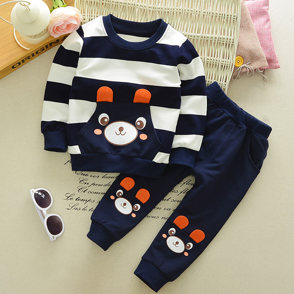 2017 New Baby Cute Cotton Casual Clothes Suit Autumn Winter Kids Baby Girl Boy Clothes Set Striped Bear Tops+Pants Outfits