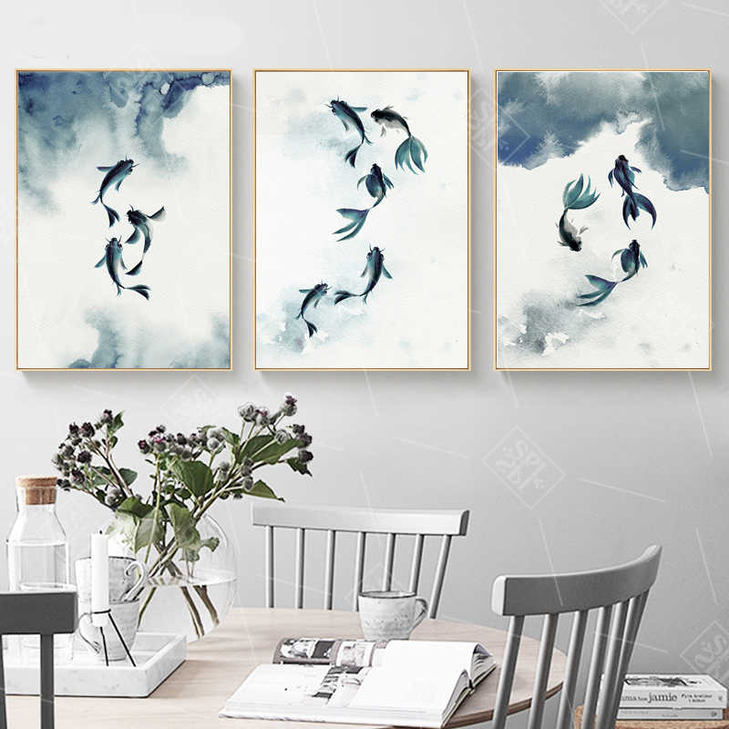 Vintage Bedroom Decoration Posters Abstract Black and White Ink Koi Fish Canvas Painting Hd Print Wall Artwork Picture No Framed