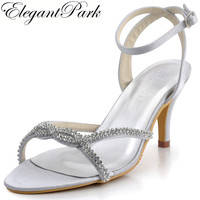 Cool Summer EP2056 Silver Open Toe Satin Rhinestones Stiletto Heel Slingback Wedding Sandals Bridal Party Shoes