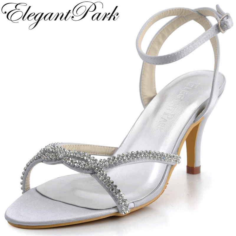 woman Summer High Heel Sandals EP2056 Silver Open Toe Rhinestones Satin Bride Bridesmaid Wedding Bridal Party Prom Evening Shoes el 033 burgundy women sandals shoes bride open toe bridal party rhinestones high heels pumps ankle straps satin wedding shoes