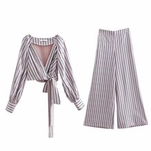 цена на Female set pants set spring and autumn new fashion wild long-sleeved striped wrap shirt striped wide-leg pants two-piece 2019