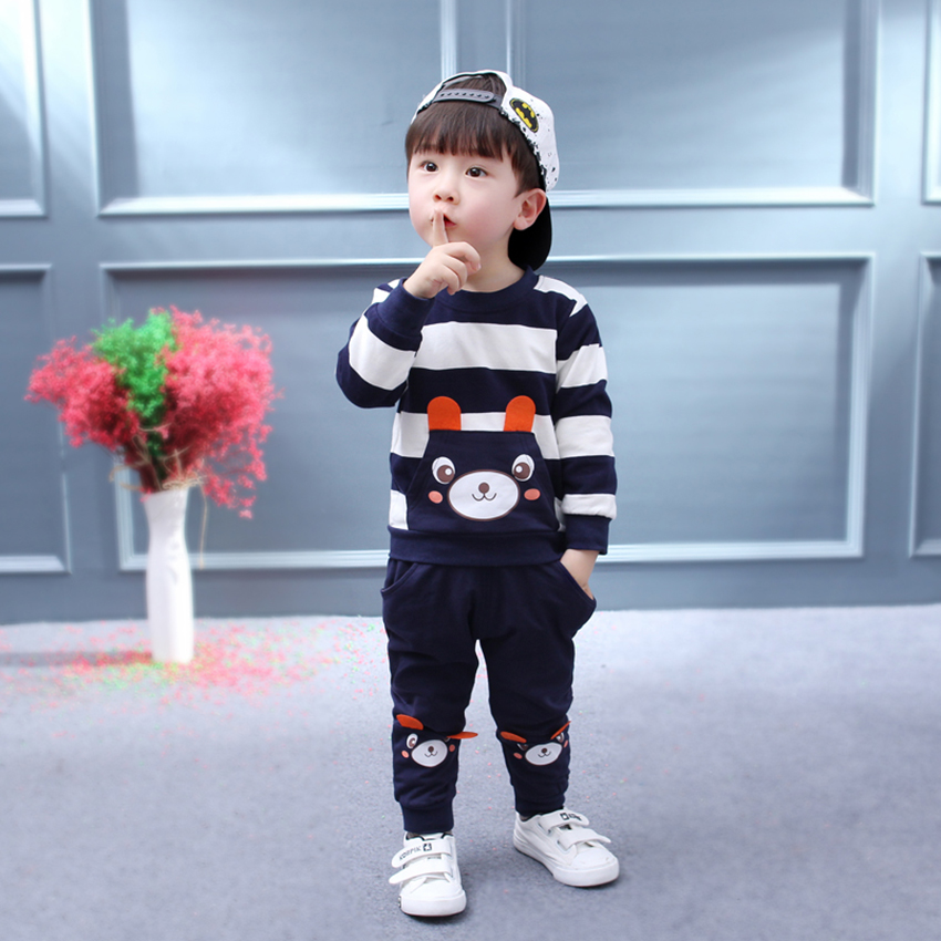 Belababy Clothing Sets Spring Style Kids Clothing Sets Long Sleeve Cartoon Bear Striped T-shirt+Pants 2Pc For Children Clothing