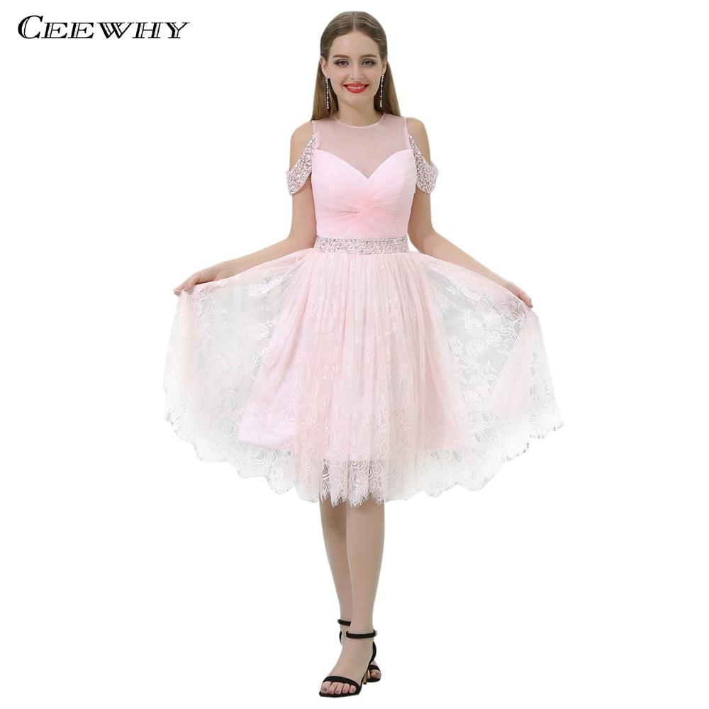 CEEWHY Knee Length Pink Gown Lace   Dress   Elegant Crystal   Cocktail     Dresses   Short Formal   Dress   Vestidos de Coctel Prom Gown