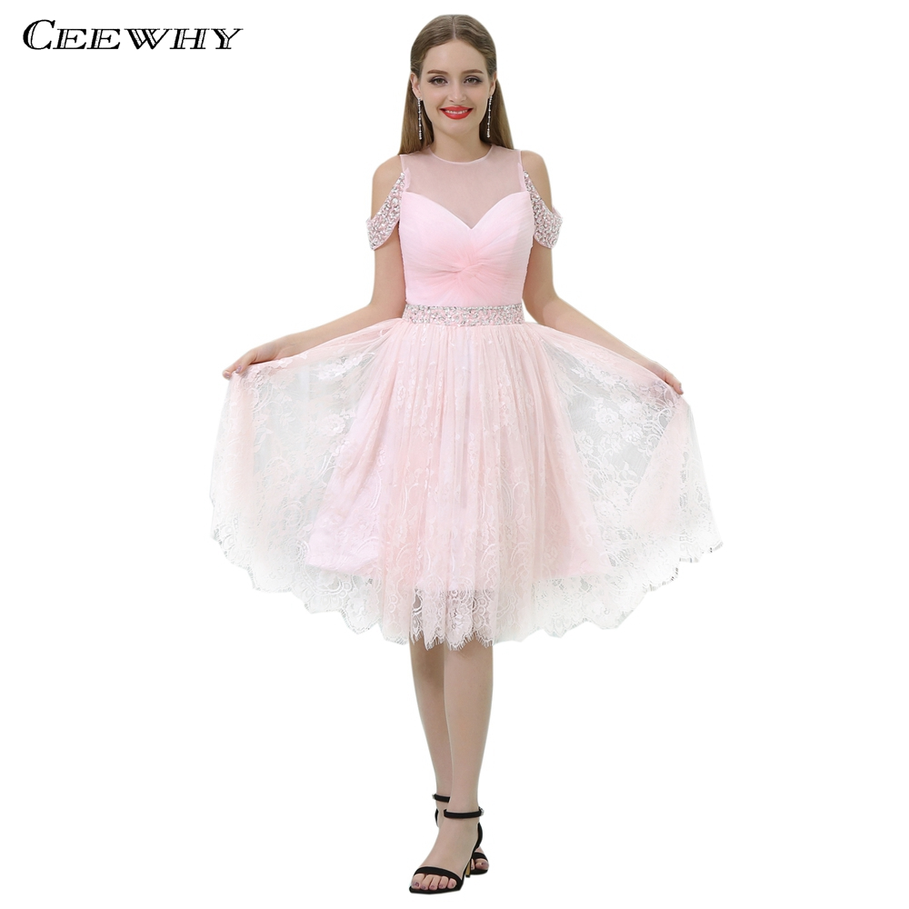 CEEWHY genou longueur rose robe dentelle robe élégante cristal robes de Cocktail courte robe formelle Vestidos de Coctel robe de bal