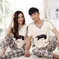 Las Mujeres Pijamas de verano Los Amantes Camisones de Algodón de Manga Corta Pantalones Pareja Pijama Establece Longitud de los Pantalones de Pijama de Las Mujeres