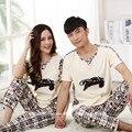 Pijamas de verão Amantes Das Mulheres Sleepwear Calças de Pijama de Algodão de Manga Curta Calças na Altura das Mulheres Conjuntos de Pijama Casal