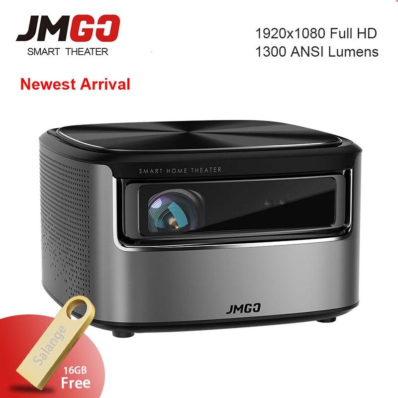 JmGO N7 Full HD 1080 P proyector Android OS 1300 ANSI lúmenes 1920*1080 Bluetooth 2G/16G soporte 4 K Video Wifi 3D proyector Beamer
