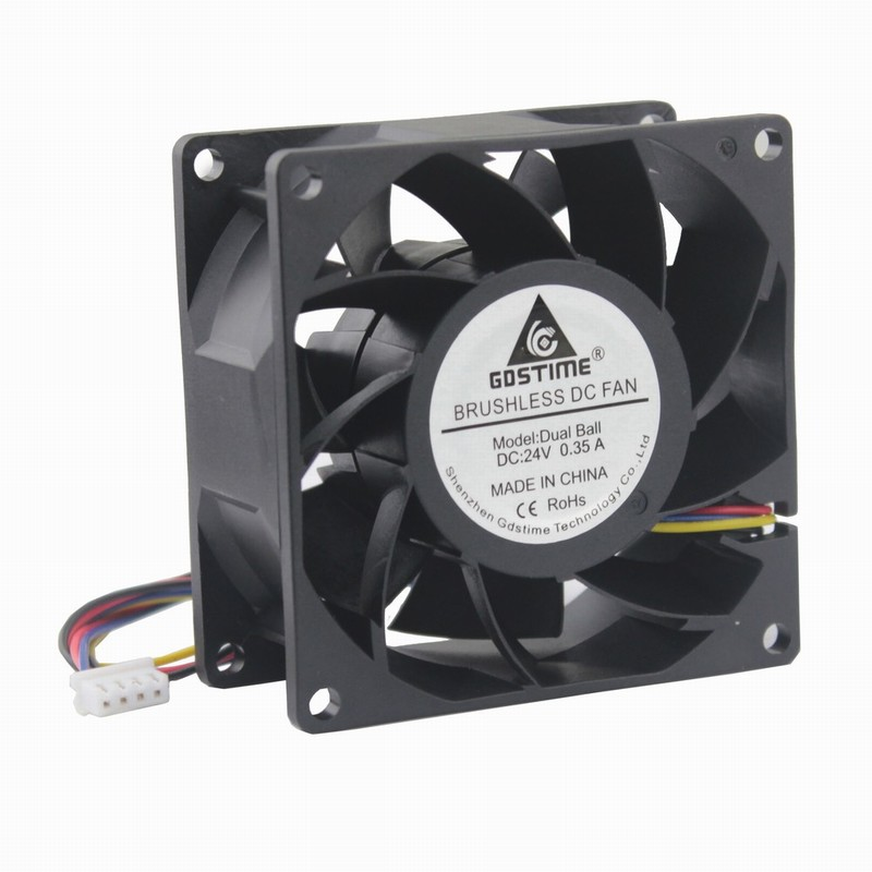 10 Pcs Gdstime 24V 80x80x38mm Radiator Ball Bearing PC DC Cooling Fan 80mm 4Pin Connector 8038 8cm Brushless Cooler Fan 24 Volt 4pin mgt8012yr w20 graphics card fan vga cooler for xfx gts250 gs 250x ydf5 gts260 video card cooling