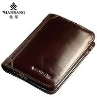 ManBang Classic Style Wallet Genuine Leather Men Wallets Short Male Purse Card Holder Wallet Men Fashion High Quality gift 199