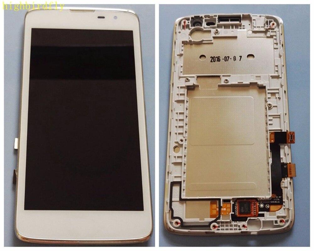Pour Lg k7 X210 X210DS Écran lcd + Tactile En Verre Digitizer Avec Cadre Assemblée Blanc Remplacement Écran