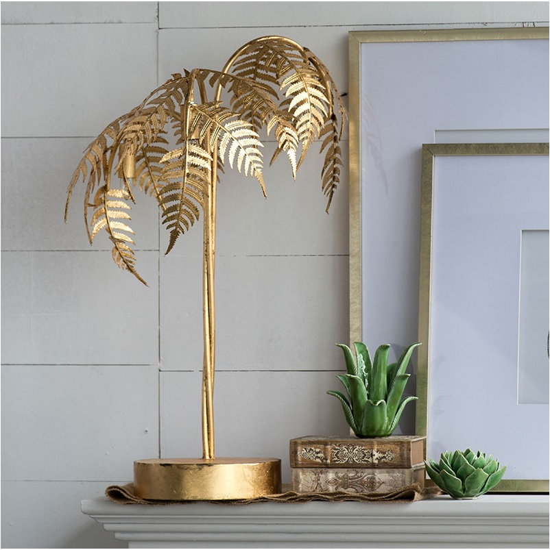80cm High Metal Palm Tree Table Lamp with Golden Vanish / 3 Lights Golden Tree tree print table cover
