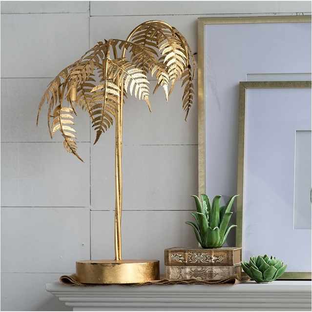 80cm High Metal Palm Tree Table Lamp With Golden Vanish 3 Lights