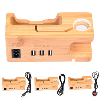 5V 3A New Bamboo Phone Charger Holder Stand For Apple IWatch Power Supply Mobile Phone Chargers