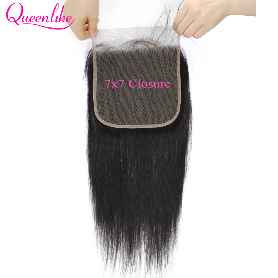Queenlike Lace Closure Hairline Remy-Hair Swiss Pre-Plucked Straight 7x7 Brazilian Natural title=