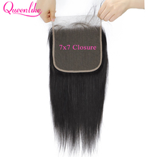 7x7 Lace Closure Big Swiss Lace Size Pre Plucked With Baby Hair Natural Hairline Queenlike Brazilian Straight Remy Hair Closure