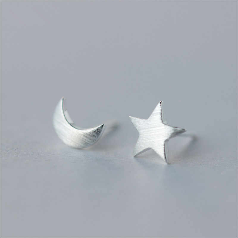 925 Sterling Silver Asymmetry Star Moon Stud Earrings for Women Girls Gift Fashion Cut Wedding Jewelry Bijoux Pendientes EH882