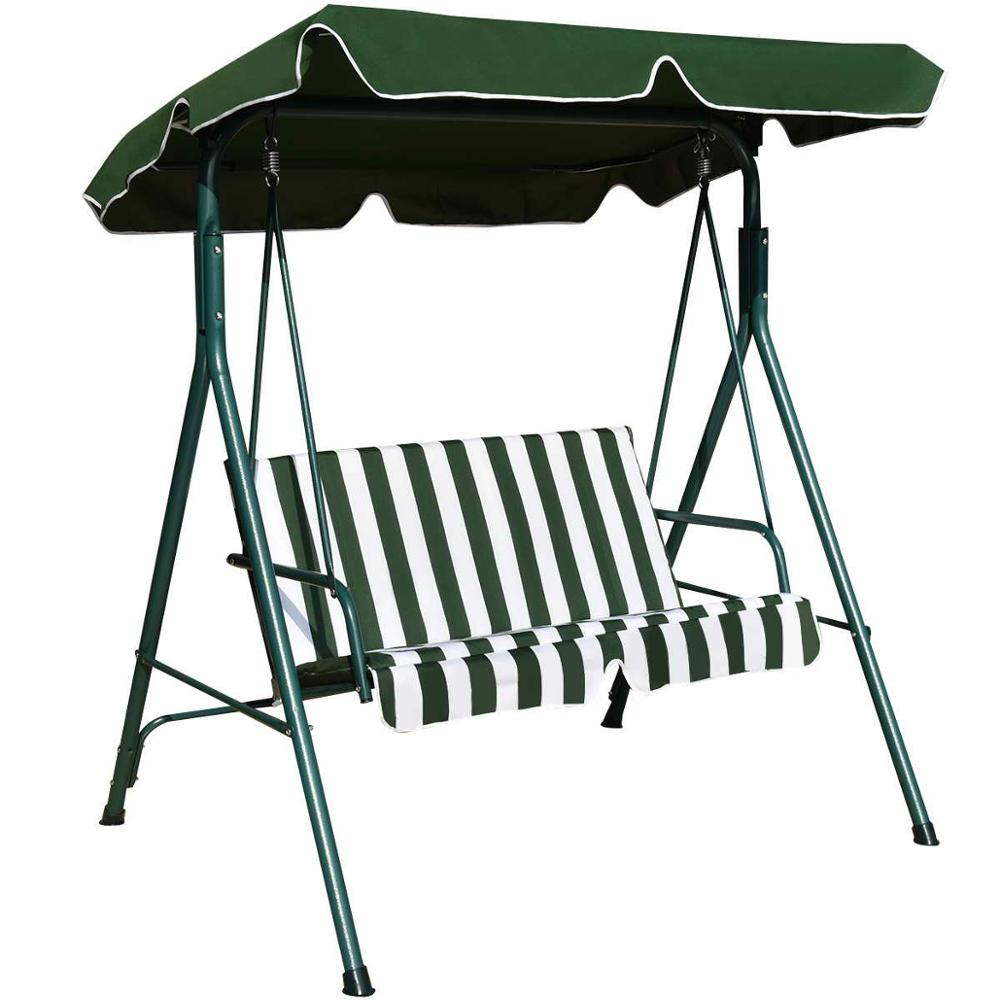 Loveseat Patio Canopy Swing Glider Hammock Cushioned Steel Frame Bench Outdoor Patio Swing Garden Furniture OP3102
