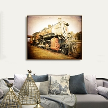 Laeacco Vintage Train Wall Artwork Posters and Prints Canvas Calligraphy Painting Home Decoration Living Room Decor