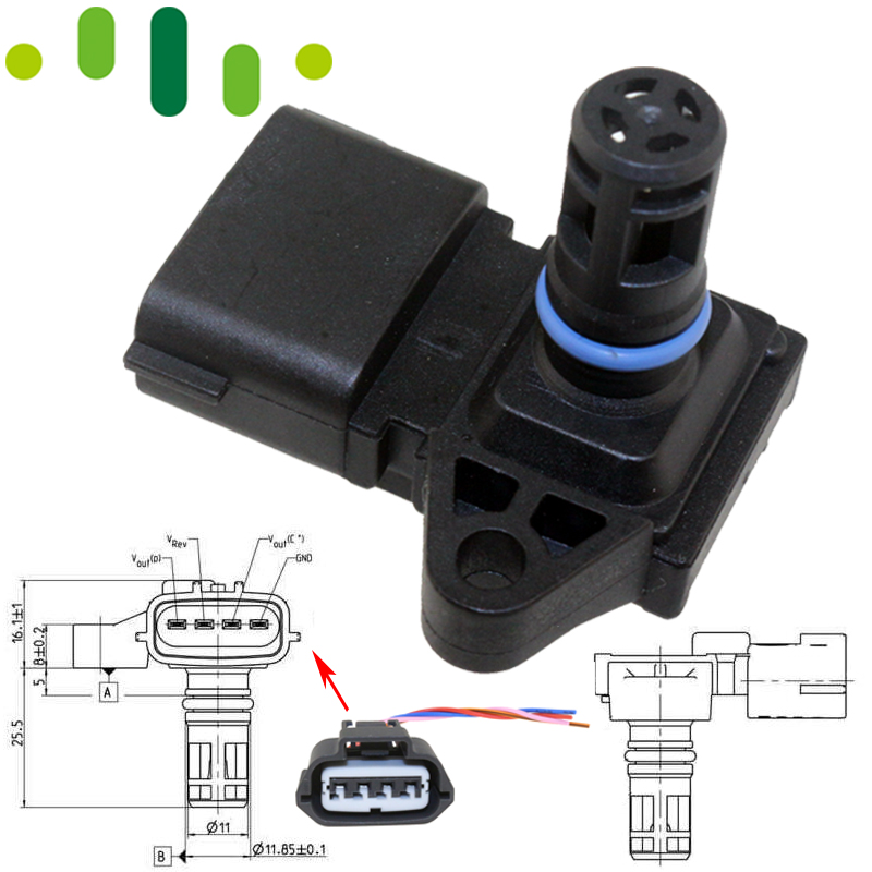 4 BAR 4Bar MAP Manifold Intake Air Pressure Sensor For Peugeot KIA Citroen Hyundai Renault 80018383 5WK96841 2045431 5WY2833A(China)