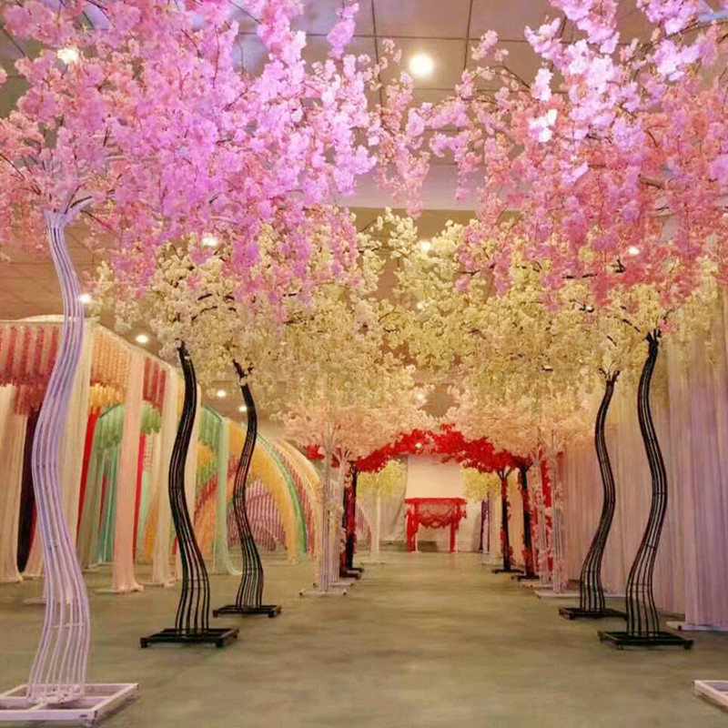 2018 New Arrival Wedding Props Road Cited Simulation Cherry Flower with Iron Arch Frame For Party