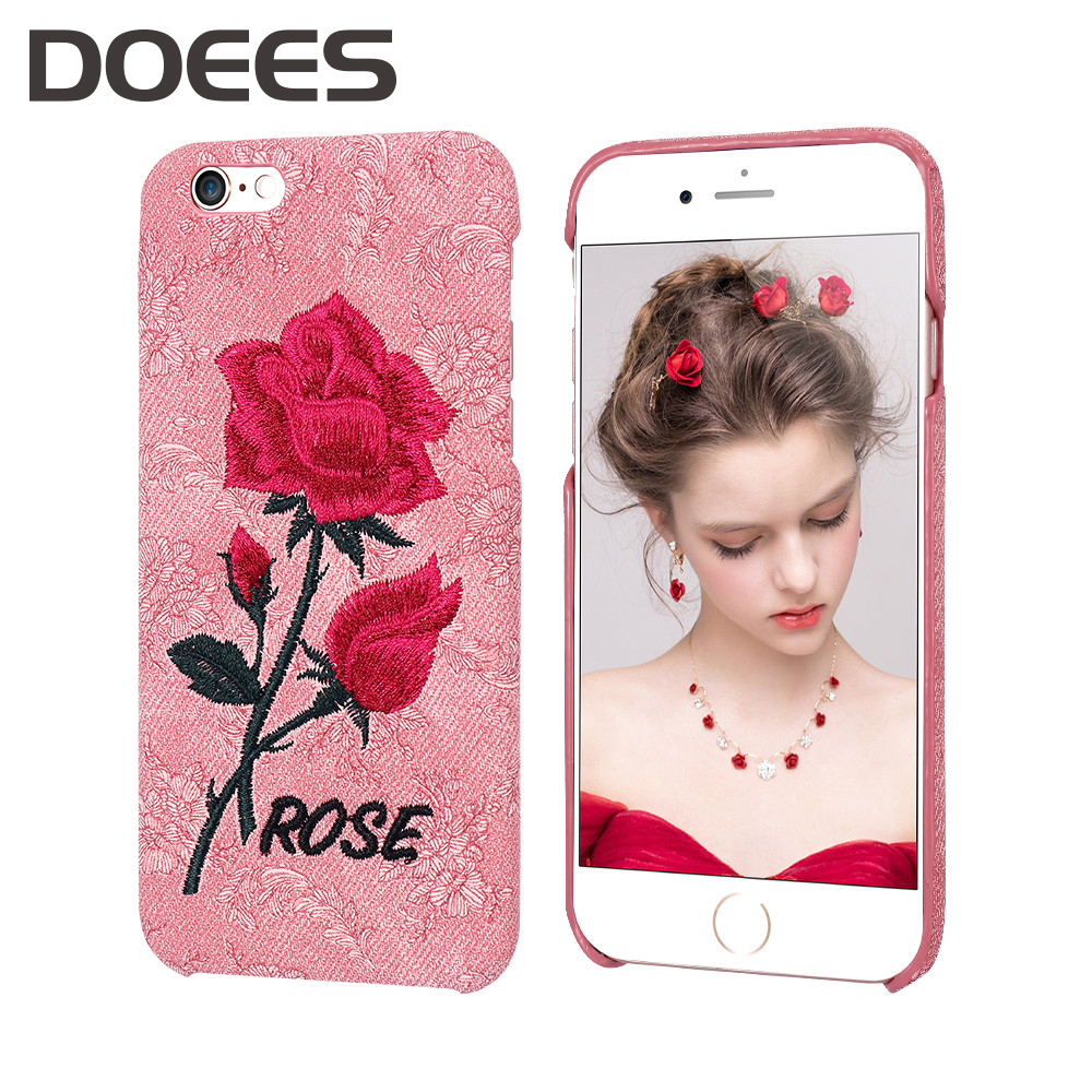 DOEES Case For iPhone 6 6S 7 7 Plus 5 5S SE Cover Women Embroidered Rose Painting Retro Back Cover For iPhone 6 7 Plus Bag Case