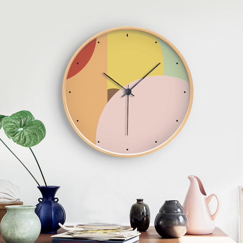 Modern Solid Wood Silent Circular Gradient Picture Print Wall Clock Design Frame Electronic Clock Living Bedroom Wall Clock Deco