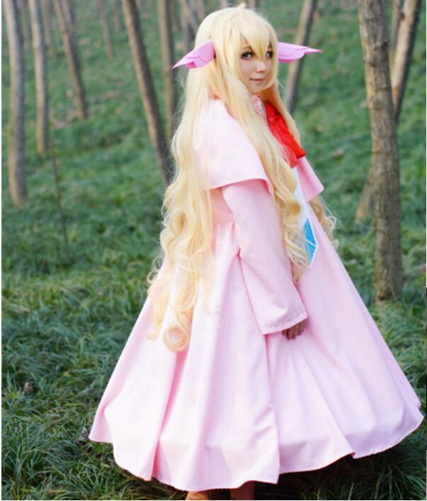 Anime Fairy Tail Cosplay Mavis Vermilion Cos Halloween Party Full Set 3in1(Dresses+The Pannier + Ears) Free Shipping Wig