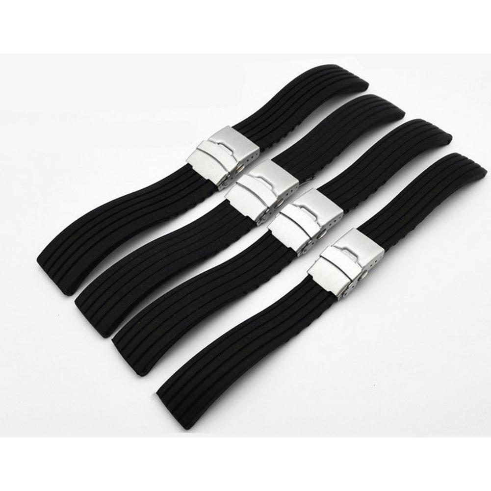 18/20/22/24mm Men Women Replacement Silicone Watch Strap Band Wrist Watch Deployment Buckle Diver Waterproof Watch Band fabulous stainless steel mesh watch band pin buckle high quality 20 22 24mm watch strap for men women wrist watch replacement