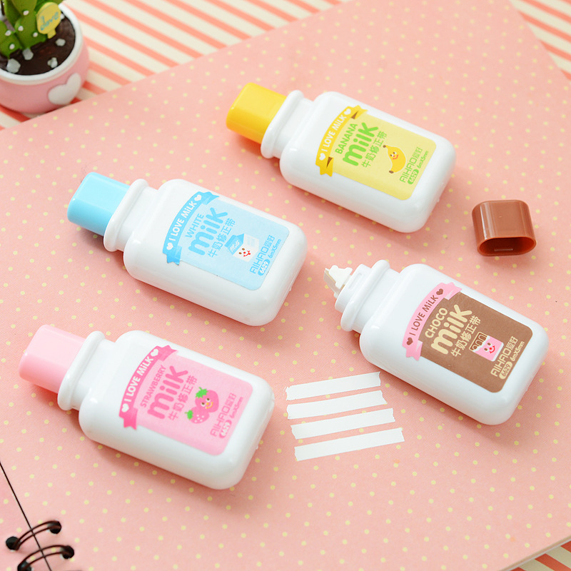 Cute Cartoon Kawaii Milk Style Correction Tape for kids School Supplies Materials Korean Stationery Wholesale Student the student stationery wholesale prize korean cartoon eraser skateboard 35 pcs set 5 5 2 0 5cm multicolor