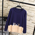 Cartoon Cat Contrast Color Women Sweaters Casual Plus Size O-neck Pullovers Knitting Sweater KK2061