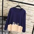 Gato de dibujos animados de Color de Contraste Mujeres Suéteres Jerseys Suéter Que Hace Punto Ocasional Más El Tamaño Del O-cuello KK2061
