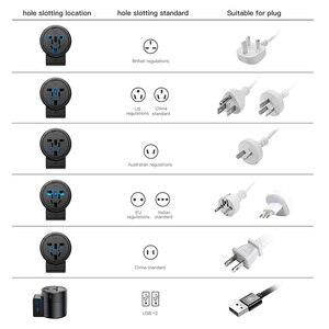 Image 5 - Baseus International adaptateur de voyage tourbillon universel voyage prise de chargeur mural double USB adaptateur secteur convertisseur pour ue US royaume uni AU