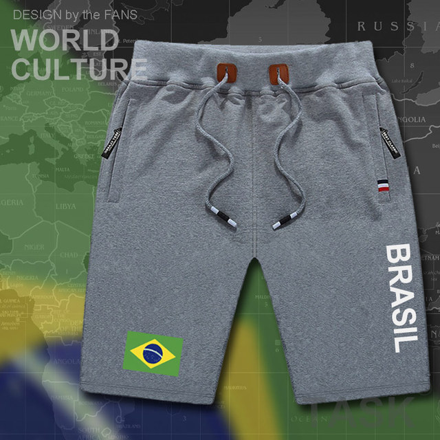 Calções de praia dos homens novos board shorts dos homens da bandeira do  brasil treino zipper 36e79db2e19f0