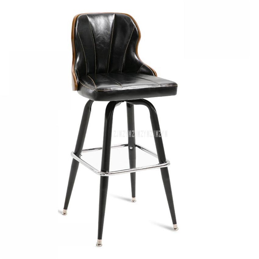 European Modern Solid Wood Backrest Antique Bar Chair Metal Iron Art Rotatable Leisure Coffee Bar Counter Chair High Footstool