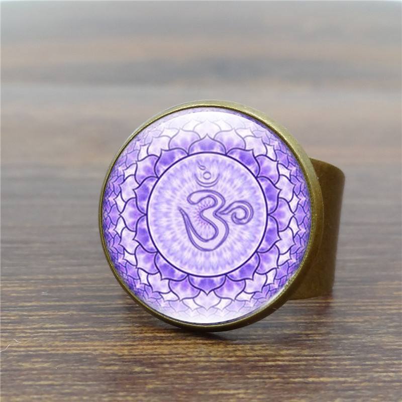 Vintage Antique Ring Mandala Flower Art Glass Dome Rings for Women Yoga Om Symbol Ring Adjustable Anillos Mujer S5007