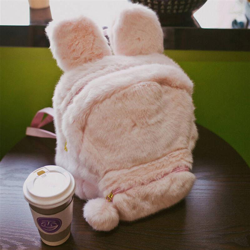 New Lovely Women Bunny Ears Rabbit Fur Backpack School Bags for Teenage Girls Travel Rucksack Double